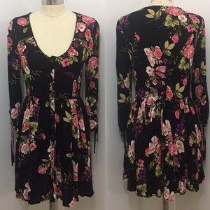 Anthropologie Black Floral Lace-Up Babydoll Dress